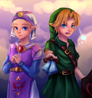 Young Zelda and Link by kavi-ar