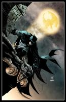 Batman on the gargoyle by Ken Hunt colored by Dany-Morales