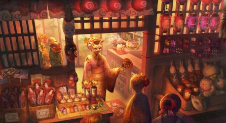 Night market by Elle-Shengxuan-Shi