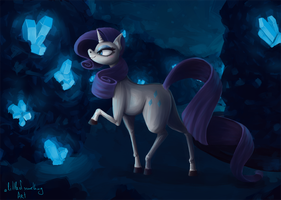 Rarity and The Crystal Cave (small) by alittleofsomething