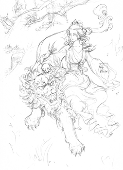 Guan Yin and Lion by valkyriechan