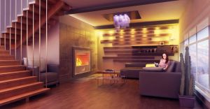 The room with a fireplace HQ 2 by Ultrarender