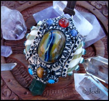 Glass and Clay Talisman Pendant Keeper of the Keys by andromeda