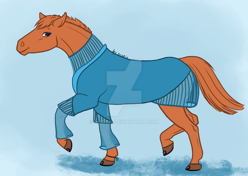 Horse in dress by Scotis