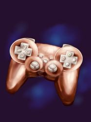 Rosegold with silver buttons PlayStationcontroller by KateMehDoy