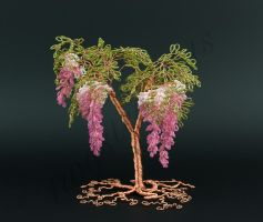 Floral style pink and green bead tree with copper  by Twystedroots