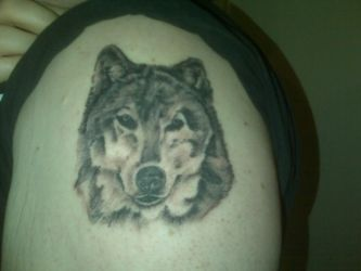 wolf tattoo by man1nblack