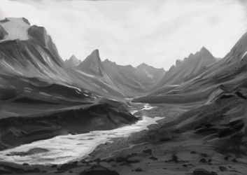 Auyuittuq Mountains sketch (Google Maps 01) by rattree