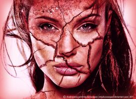 Angelina Jolie Cracked Face by imjuliusvasquez