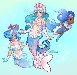 Popplio, Brionne and Primarina by Flying-Fox