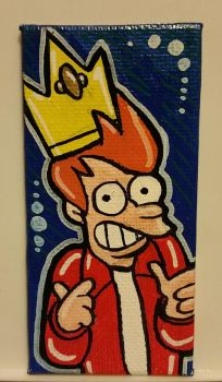 Original Canvas Painting of King FRY The FIRST by TacoElGatoComics