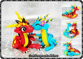 Lovey-dovey dragon couple - SOLD by CuteDragonsAndMore