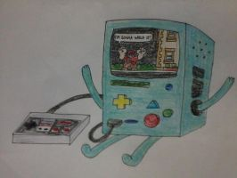 BMO playing Fix-it Felix Jr. by AuraSoldierI