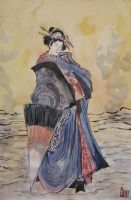 Lady of the Dawn - Japanese ink painting study by Cassiuseos