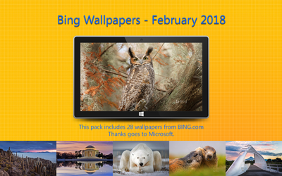 Bing Wallpapers - February 2018 by Misaki2009