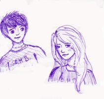 Purple Percy and Annabeth sket by sparklevamp