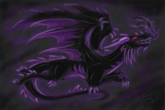 Purple and Black Dragon by Chi-Bird