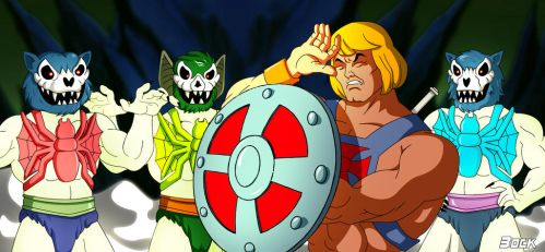 Three Terrors vs He-Man glowing by MikeBock