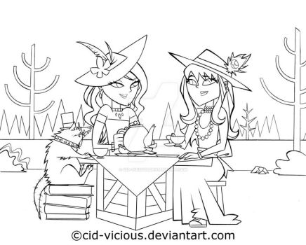 Tea Party - lineart by Cid-Vicious