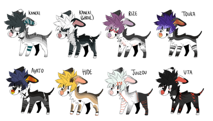 Tokyo Ghoul Dog Adopts (( CLOSED )) by ShadowPawWarrior