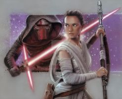 Rey and Kylo Ren by mcalandra