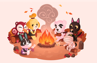 Animal Crossing Campfire by leahmsmith