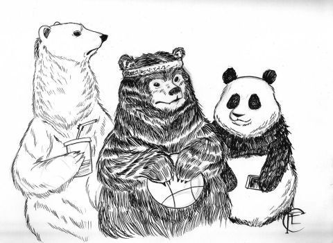 InkTober Day 2: Bare Bears by Lx8-2