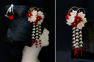 Crimson Red and White Plum Blossoms Kanzashi 156 by japanesesilkflowers