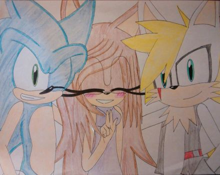 Sonic, Amethyst, and Jason (Commission) by Sonicgirlfriend65