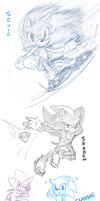 Sonic Character Sketches by BlueNeedle-Inu