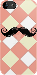 Checked and Mustache iphone and ipod Cases by PhotoshopGirl29