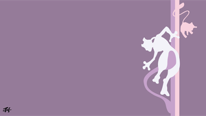 Mew and Mewtwo (Pokemon) Minimalist Wallpaper by slezzy7