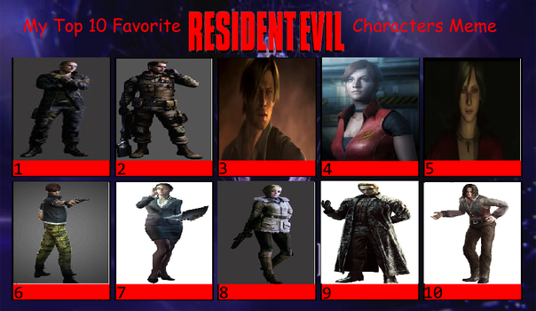 Top Ten Resident Evil Characters by redgriffin22