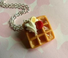 polymer clay fruit waffle necklace by ScrumptiousDoodle