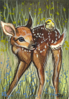 ACEO - Little Visitor by DawnUnicorn