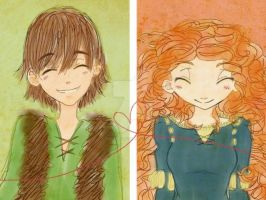 Hiccup x Merida by civil-twilight