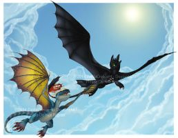 HTTYD - Toothless and Stormfly by ZaidaCrescent