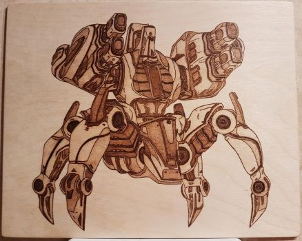 Woodburning - Starcraft 2 Protoss Immortal by Stepher17