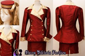 Vintage-Inspired Red and Gold Suit by DaisyViktoria