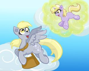 Fly With Me! -Derpy and Dinky Hooves by yoshimarsart