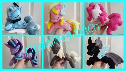 mlp plushie Sleeping Beanies canon and OC's by CINNAMON-STITCH