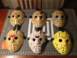 Friday The 13th parts 3-8 hockey masks by Rising-Darkness-Cos