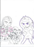 Protective Moms defending children (uncolored) by XSreiki772