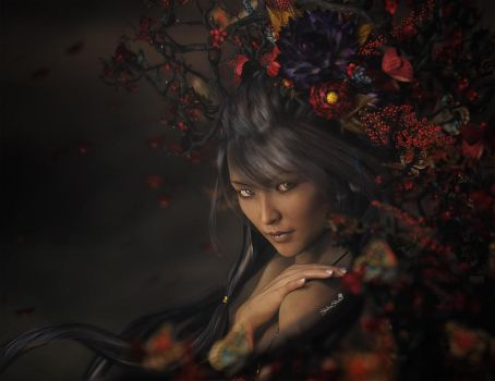 Asian Girl with Red Flowers, Portrait Art by shibashake