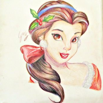 Belle Winter Drawing by Gina-M-G