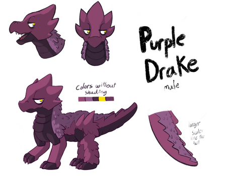 Commission: purple drake ref sheet by Cartoon-Bazooka