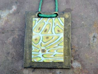Pendant Necklace - Metallic Polymer Clay by ezo