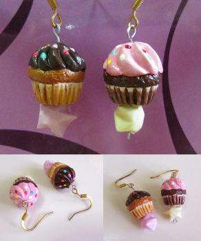 Paperclay Cupcake Earrings with Paper Stars by polkapills