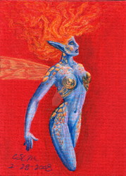 ACEO Fire Fae by teutelquessir