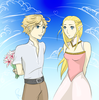 Link and Zelda by zaboo17